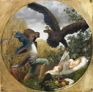 Leighton -un niño defendiendo a un bebé de un águila