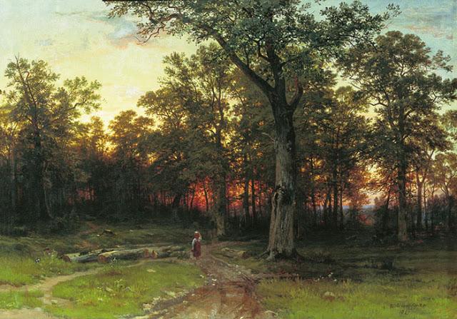 atardecer en el bosque - shiskin